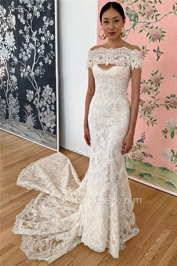 Mermaid Lace Off-the-shoulder Formal Dresses|Backless Wedding Gowns
