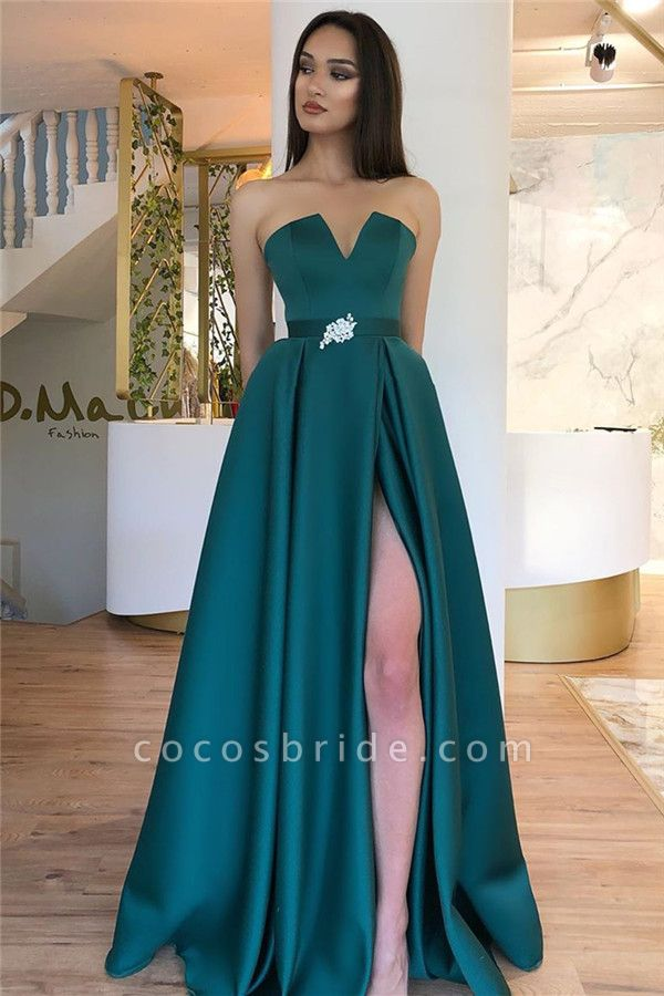 A-line Strapless Backless Splitfront Floorlength Evening Dress