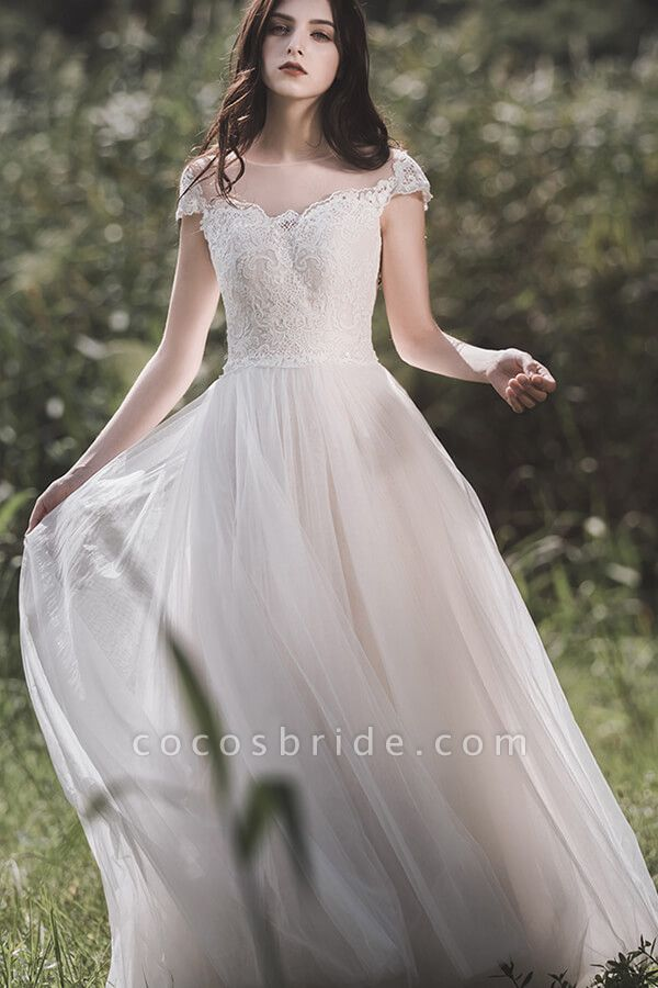 Awesome Cap Sleeve Lace Tulle A-line Wedding Dress
