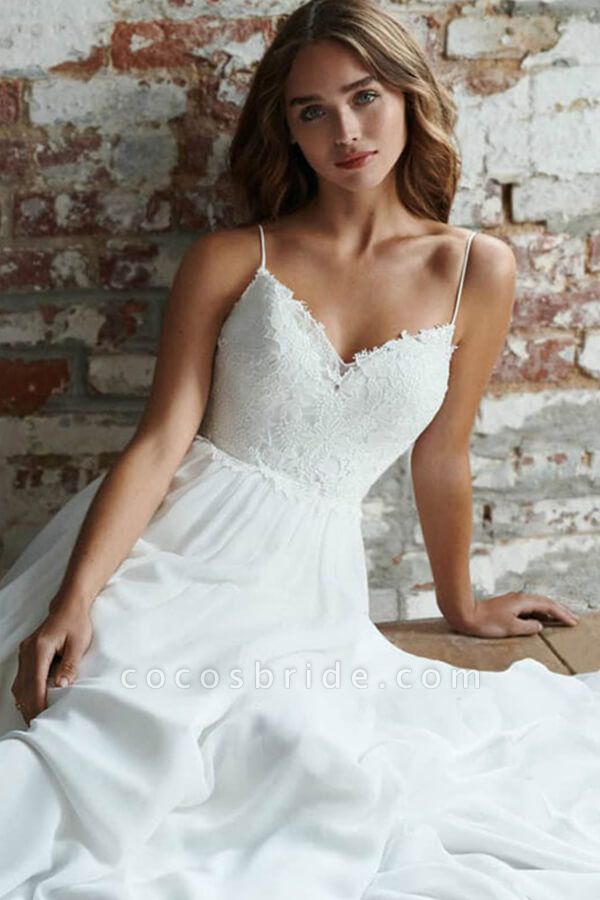 Elegant Open Back Appliques Chiffon Wedding Dress