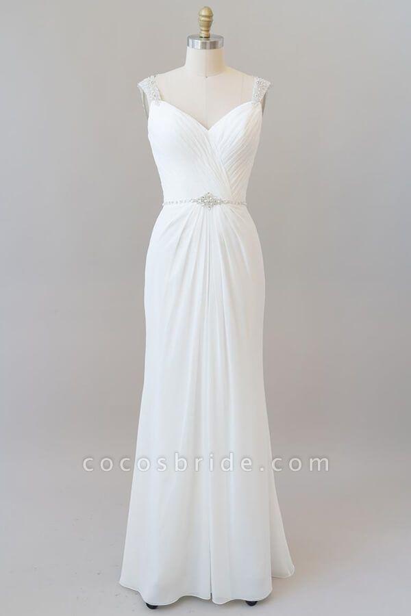 Elegant Ruffle Beading Chiffon Sheath Wedding Dress