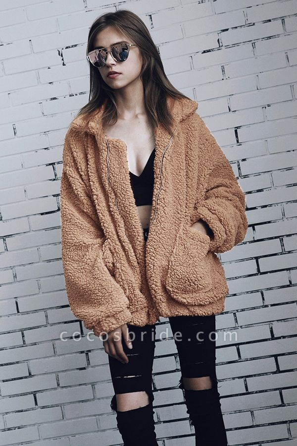Winter Fashion Going out Basic Regular Faux Fur Coat