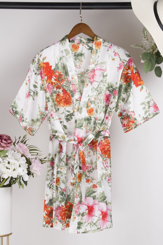 Short Sleeve Floral Print Bridesmaid Bridal Robes