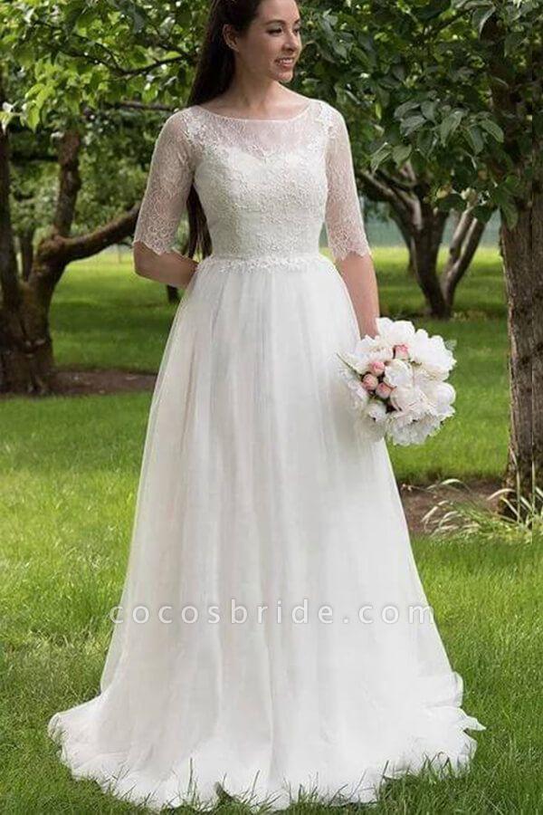 Modest Lace Tulle Court Train A-line Wedding Dress