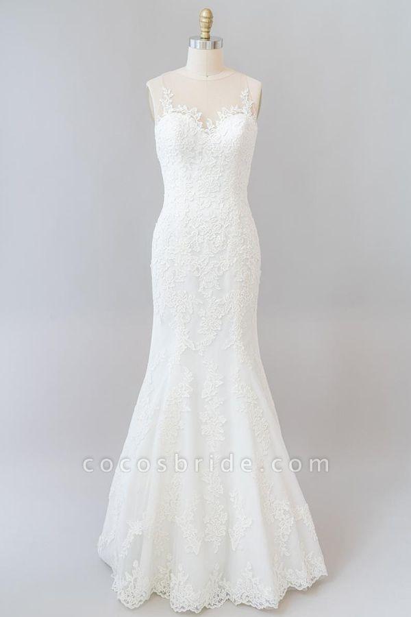 Graceful Illusion Appliques Mermaid Wedding Dress