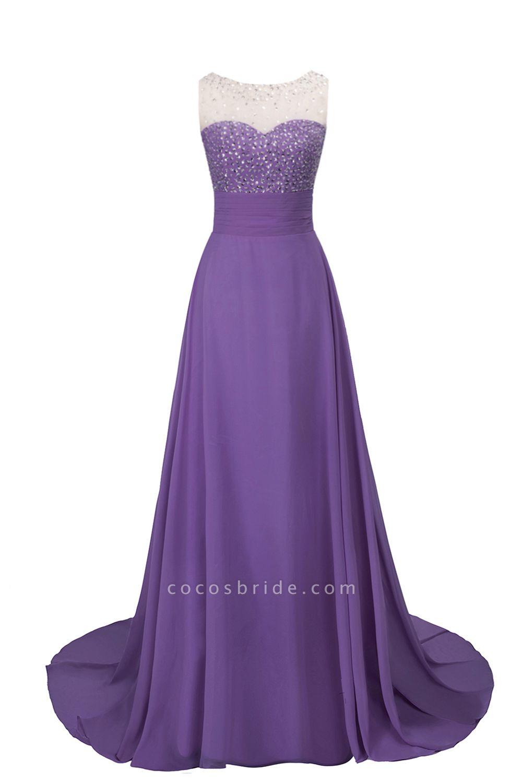 Beautiful Jewel Chiffon A-line Evening Dress