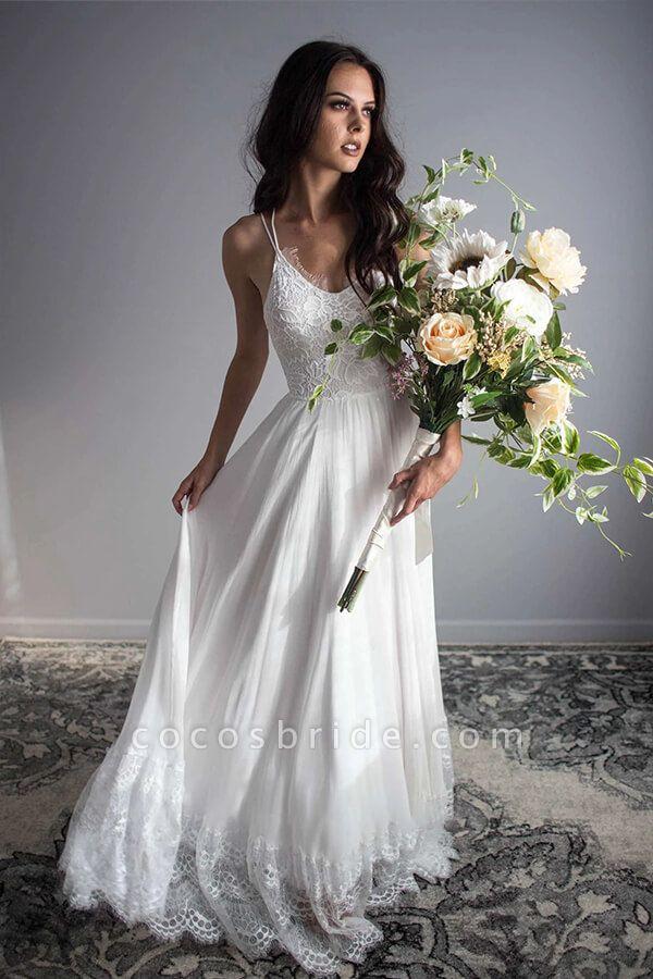 Amazing Spaghetti Strap Lace Chiffon Wedding Dress