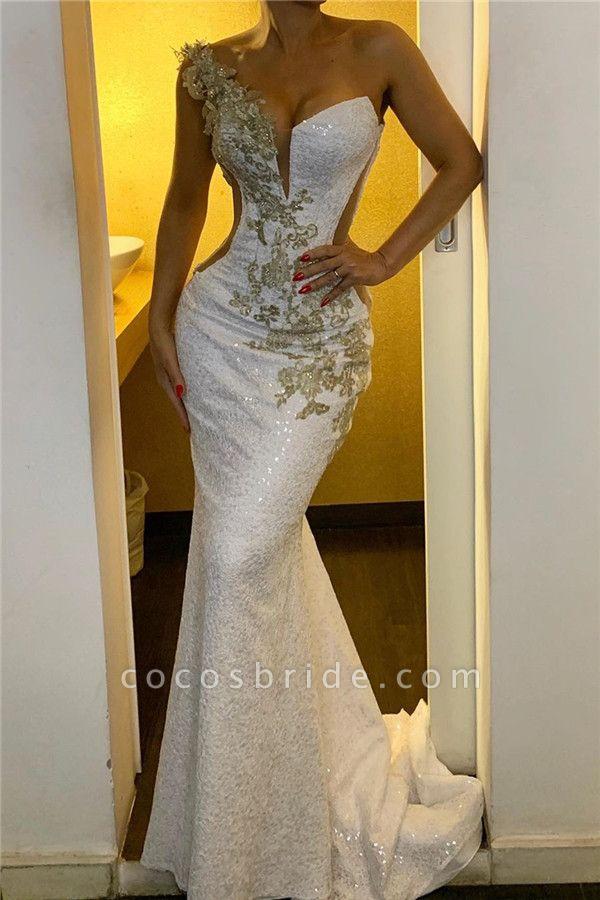 One Shoulder Appliques Sequined Evening Gowns Backless Elegant Formal Dresses