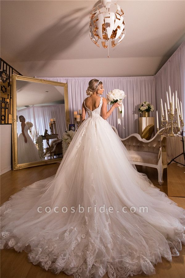 A-line Lace Tulle Ball Gown Wedding Dresses|Gorgeous Bridal Gowns