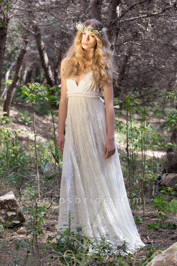 Awesome V-neck Lace Sheath Wedding Dress