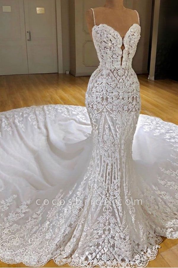 Spaghetti Straps Appliques Sexy Lace Mermaid Wedding Dress