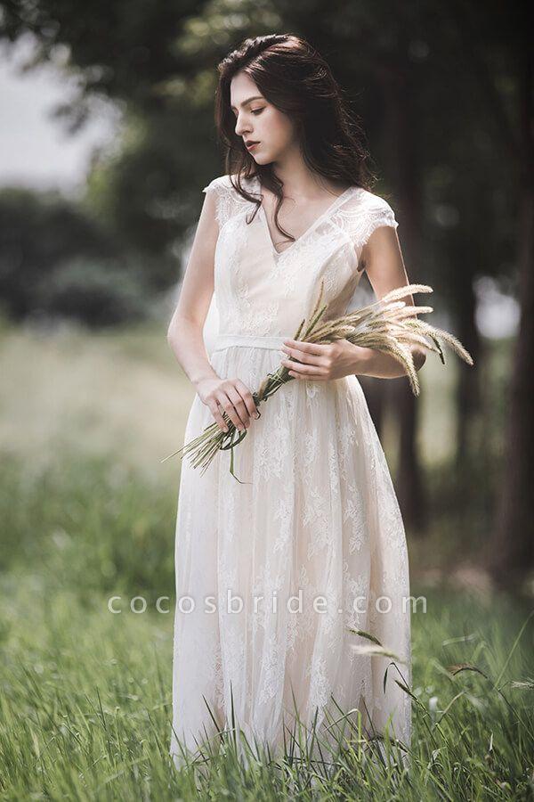 Graceful V-neck Lace A-line Wedding Dress