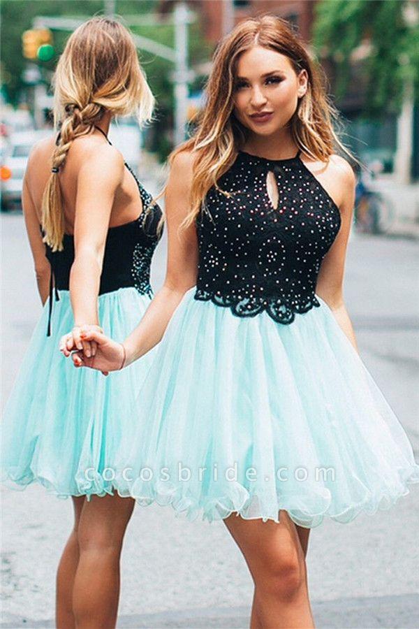 A-line Backless Halter Sleeveless Homecoming Dress