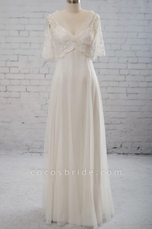 Empire Waist V-neck Tulle A-line Wedding Dress