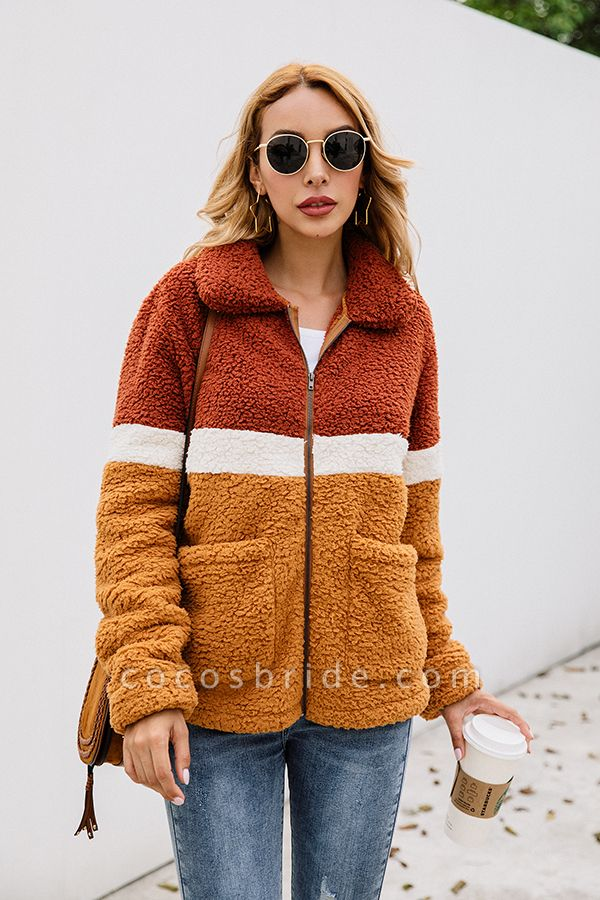 Daily Street Fashion Basic Two Toned Fur Coats