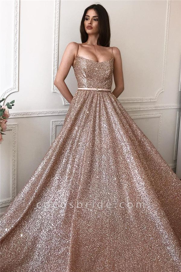 Sequined A-line Spaghettistraps Floorlength Evening Dresses