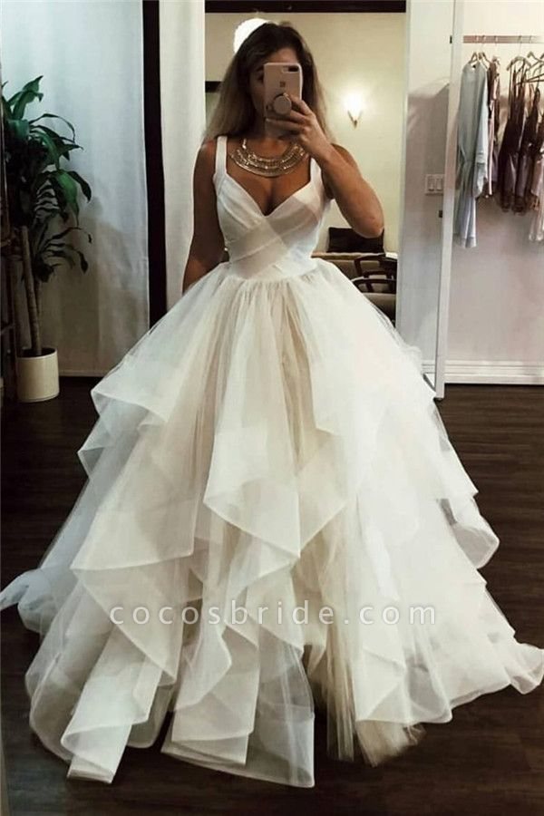 Lace Straps Tulle Ball Gowns|Chic Formal Dresses