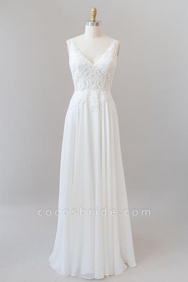 Spaghetti Strap Appliques Chiffon Wedding Dress
