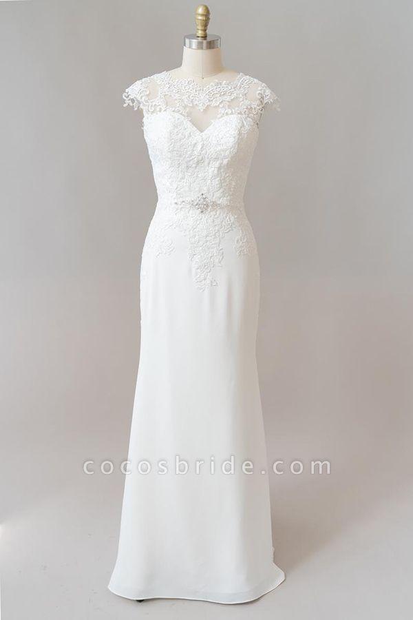 Cap Sleeve Illusion Lace Sheath Wedding Dress