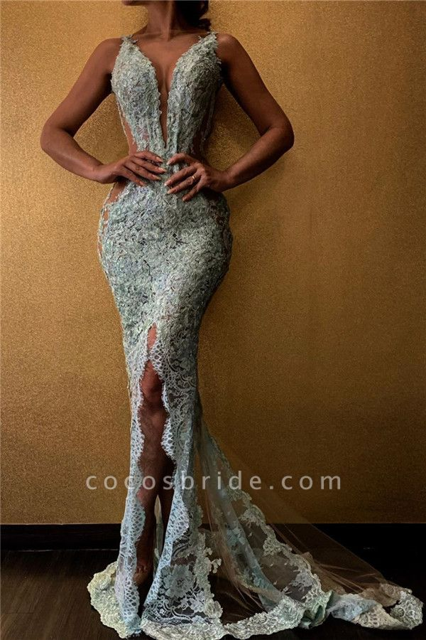 Amazing Mermaid V-neck Lace Evening Gowns