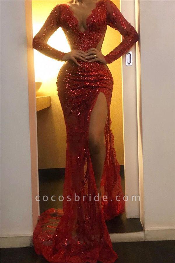 Excellent V-neck Sequined Mermaid Evening Dress