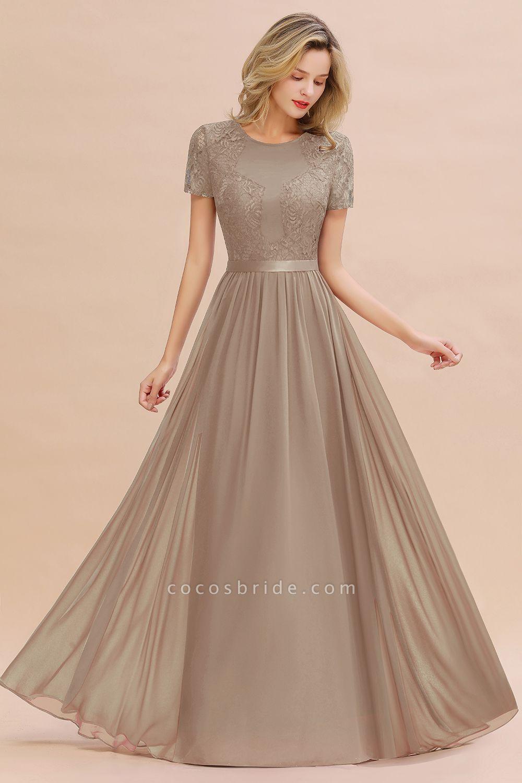 BM0831 Chiffon Lace Scoop Short Sleeve Bridesmaid Dress