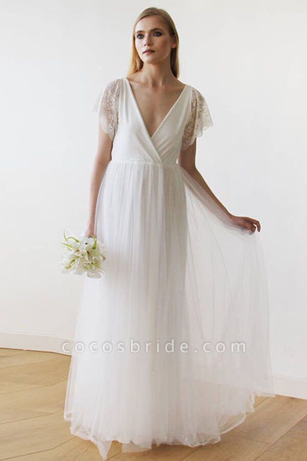 V-neck Short Sleeve Lace Tulle A-line Wedding Dress