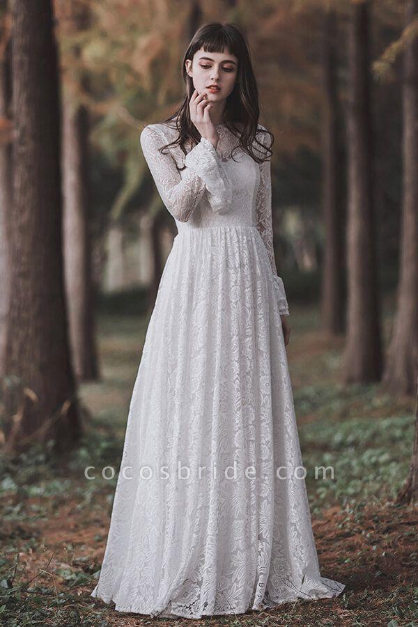 Illusion Long Sleeve Lace A-line Wedding Dress