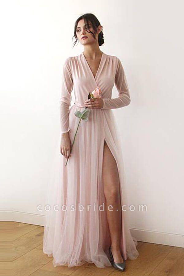 Front Slit Long Sleeve V-neck Tulle Wedding Dress