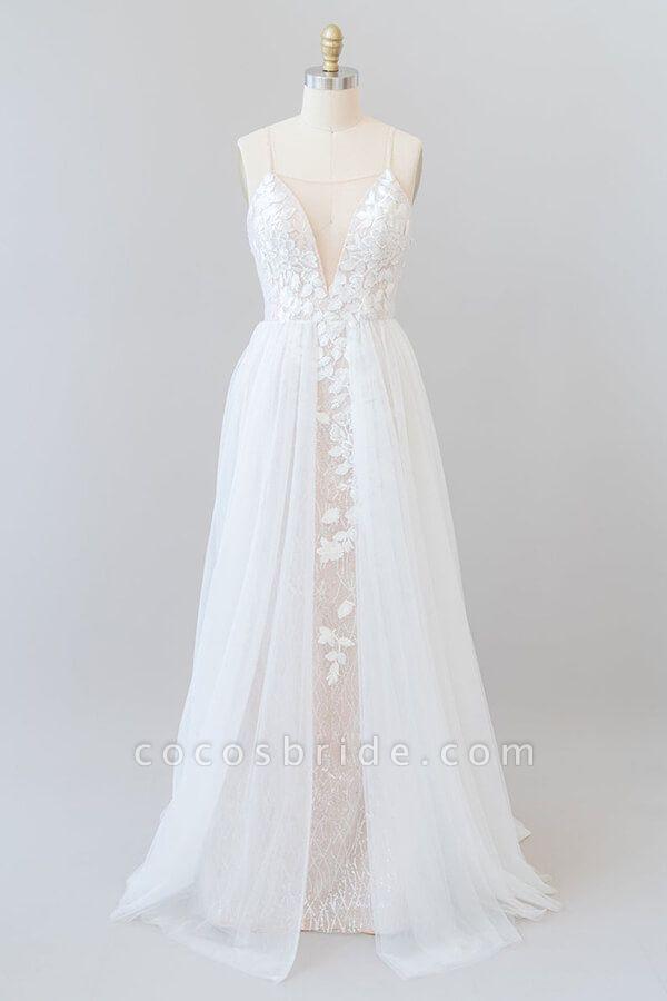 Amazing Chapel Train Appliques Tulle Wedding Dress