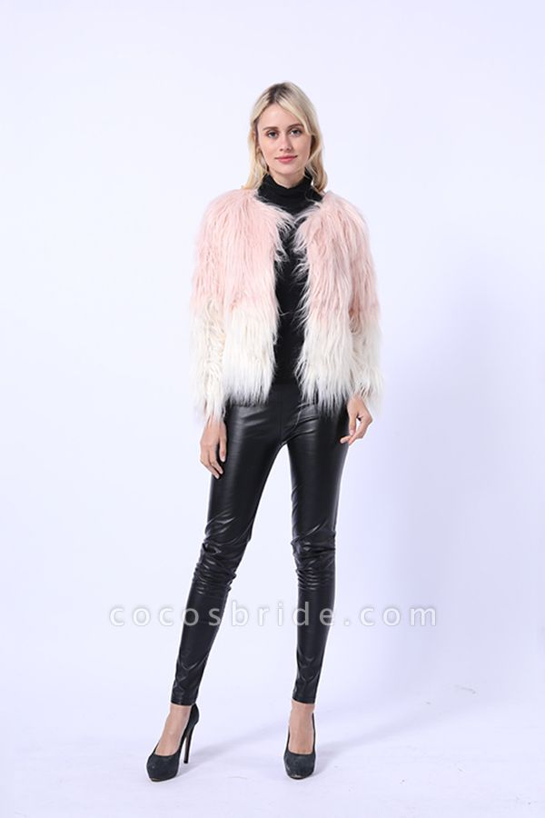 Ombre Party Fashion Winter Regular Faux Fur Coats