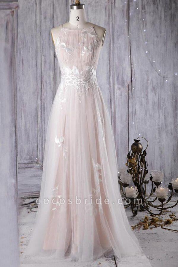 Chic Ruffle Floor Length Tulle A-line Wedding Dress