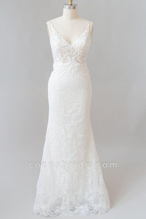 Elegant Appliques V-neck Sheath Wedding Dress