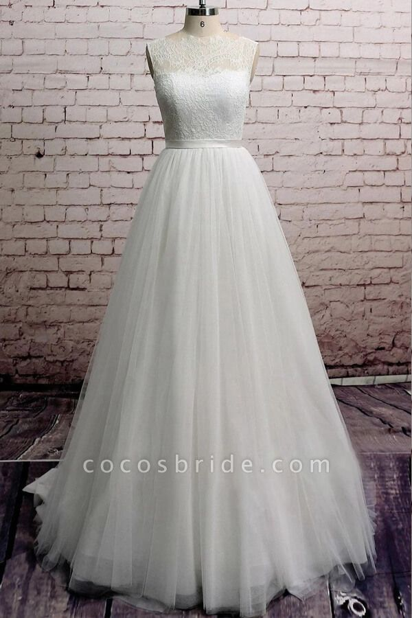 Illusion Lace Tulle Chapel Train Wedding Dress