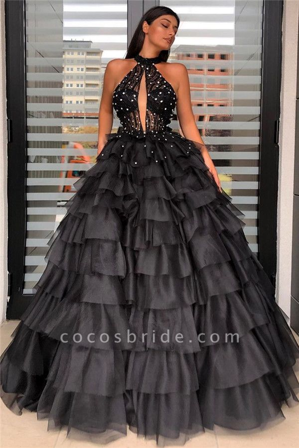Halter Sleeveless Floorlength Ball Gown Dress