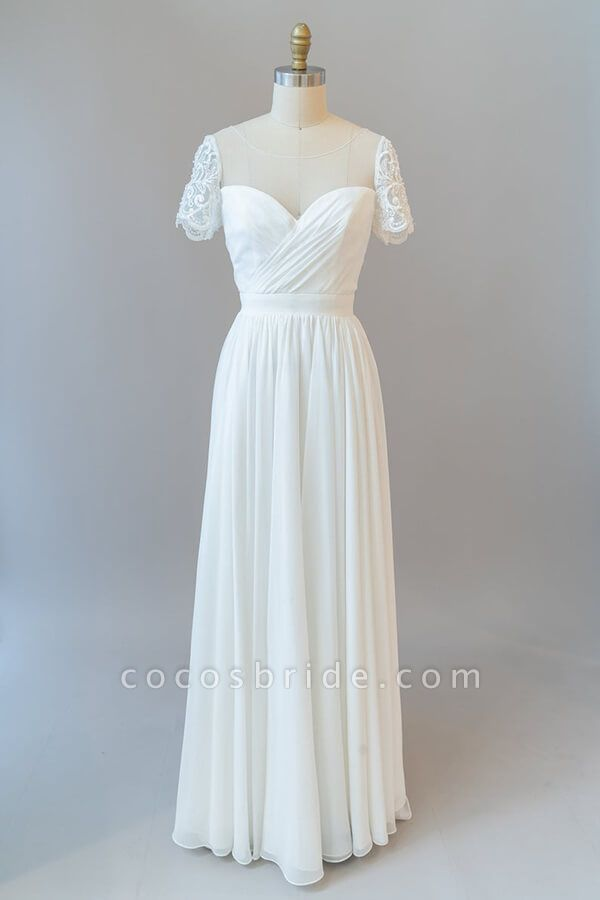 Ruffle Short Sleeve Chiffon A-line Wedding Dress
