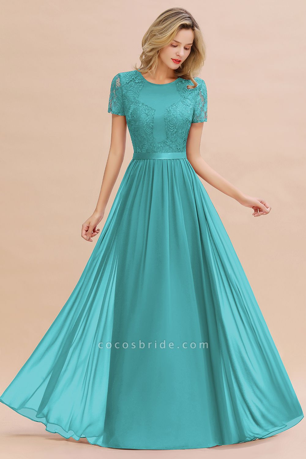 BM0831 Chiffon Lace Scoop Short Sleeve Bridesmaid Dress
