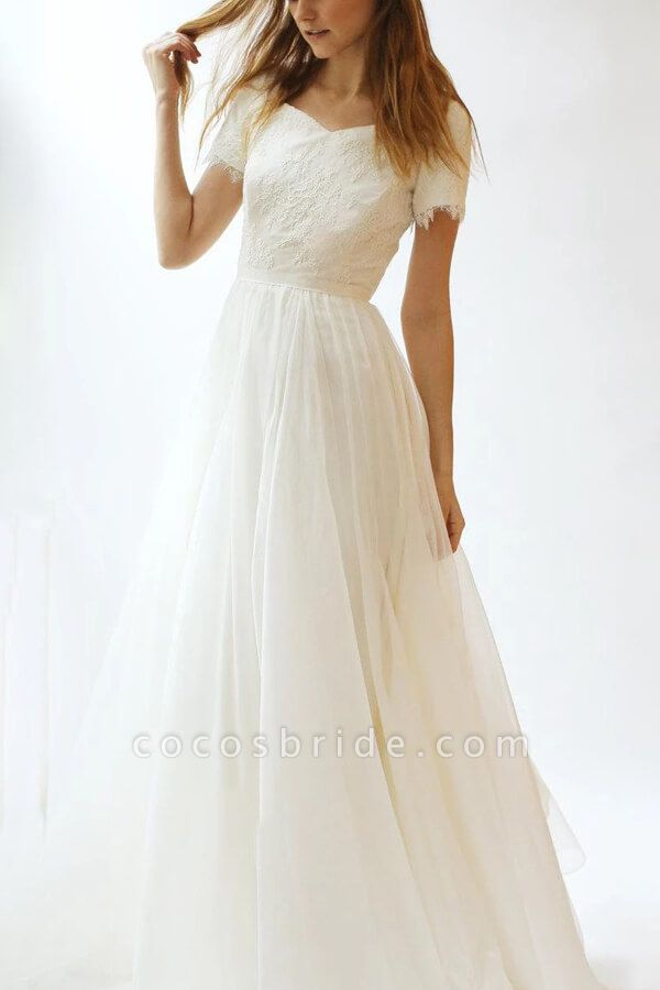 Modest Short Sleeve Lace Tulle A-line Wedding Dress