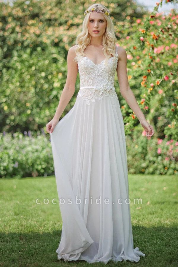 Spaghetti Strap Chiffon Appliques Wedding Dress