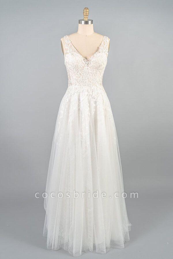 V-neck Appliques Tulle A-line Wedding Dress