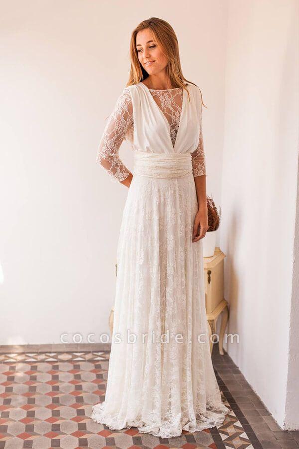 Amazing Lace Chiffon Floor Length Wedding Dress