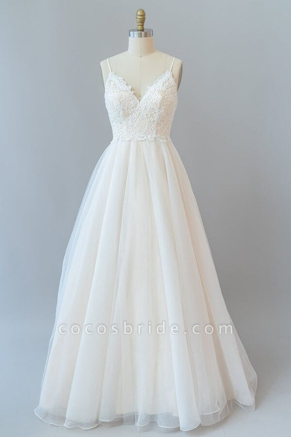 Spaghetti Strap Lace Tulle A-line Wedding Dress