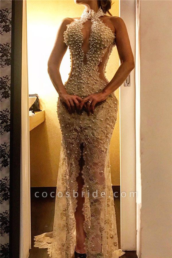 Beading Halter Lace Mermaid Evening Dresses Splitfront Party Gowns