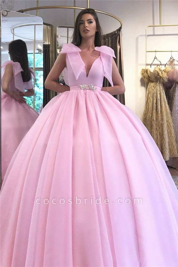 V-neck Sleeveless Belt Ballgown Dresses