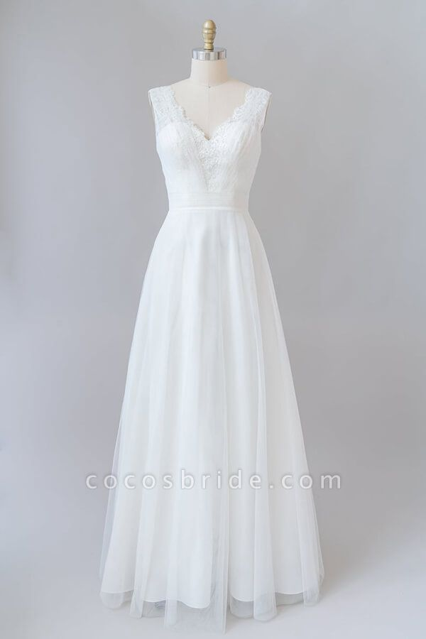 Ruffle V-neck Lace Tulle A-line Wedding Dress