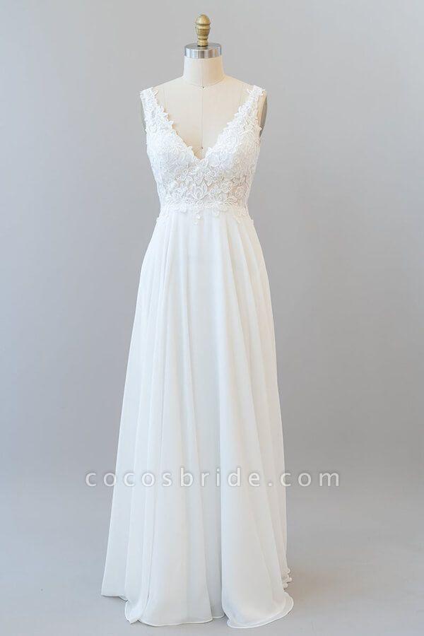 V-neck Appliques Chiffon A-line Wedding Dress