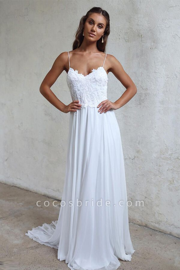 Appliques Spaghetti Strap Chiffon Wedding Dress