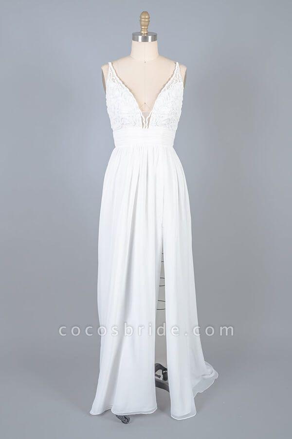 Front Slit Lace Chiffon Sheath Wedding Dress