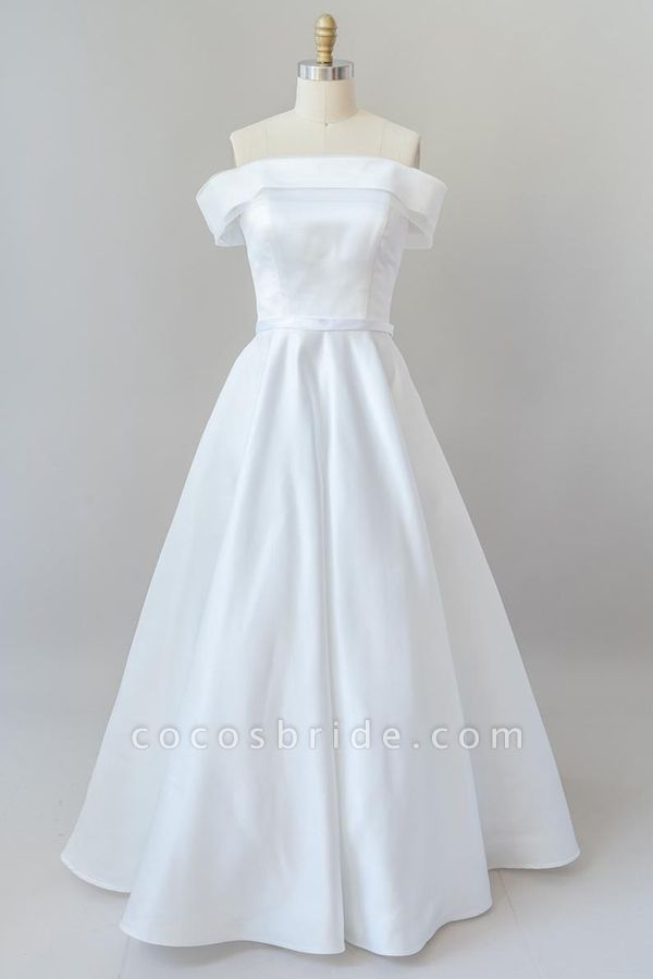 Graceful Off Shoulder Satin Ball Gown Wedding Dress