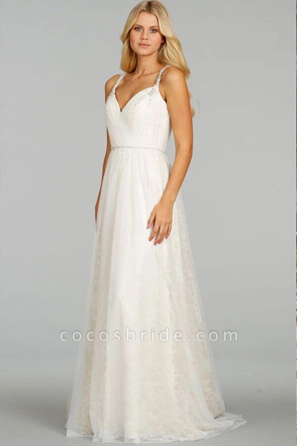 Ruffle Beading V-neck Tulle A-line Wedding Dress